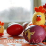 Happy Easter with painted eggs & felted chickens