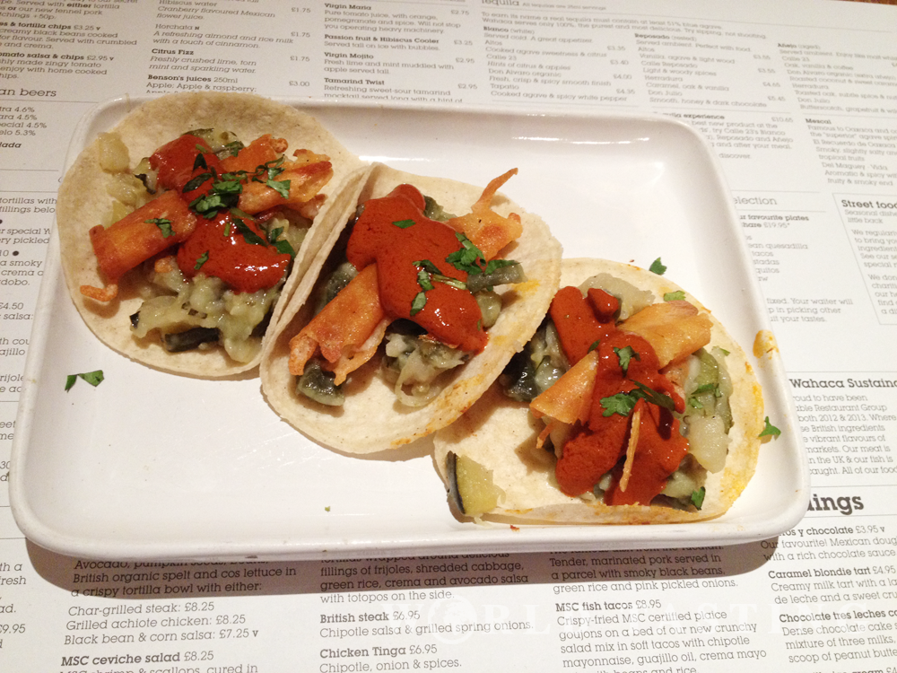 Cactus taco at Wahaca restaurant, Canary Wharf, London