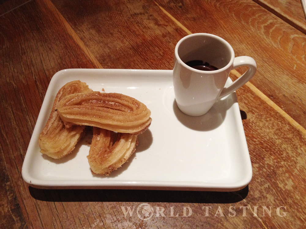Churros y chocolate at Wahaca restaurant, Canary Wharf, London