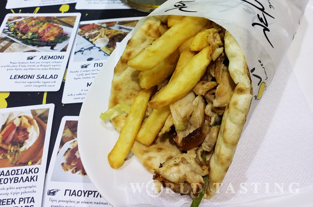 Traditional Greek gyros at Lemoni Grill House, Rhodes old town